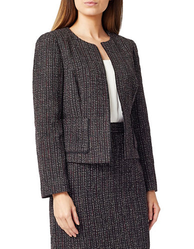 Precis Petite Petite Tweed Boucle Jacket-DARK RED-UK 10/US 8