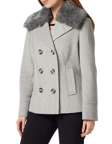 Precis Petite Faux Fur Double-Breasted Peacoat-LIGHT GREY-UK 10/US 8