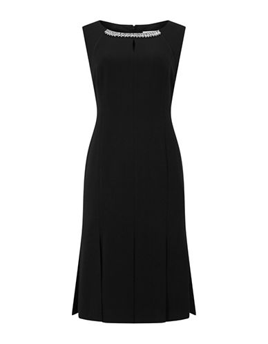 Jacques Vert Beaded Neck Sheath Dress-BLACK-UK 18/US 16
