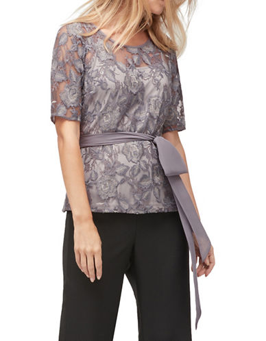 Jacques Vert Short Sleeve Blouse-GREY-UK 12/US 10
