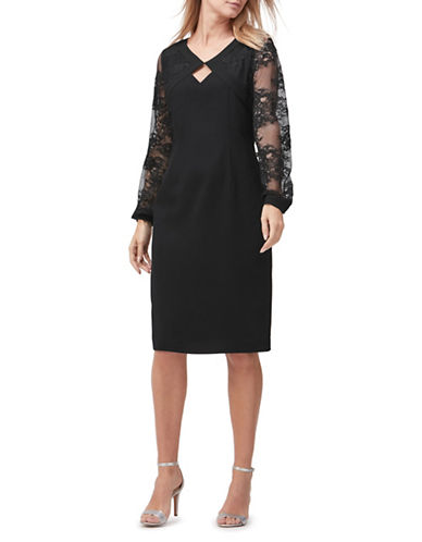 Jacques Vert Lace Sleeve Sheath Dress-BLACK-UK 20/US 18