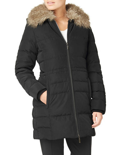 Eastex Faux Fur Collar Longline Padded Coat-BLACK-UK 16/US 14