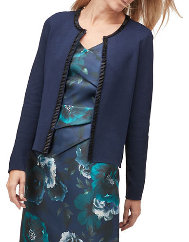 Jacques Vert Beaded Open-Front Cardigan-BLUE-Small