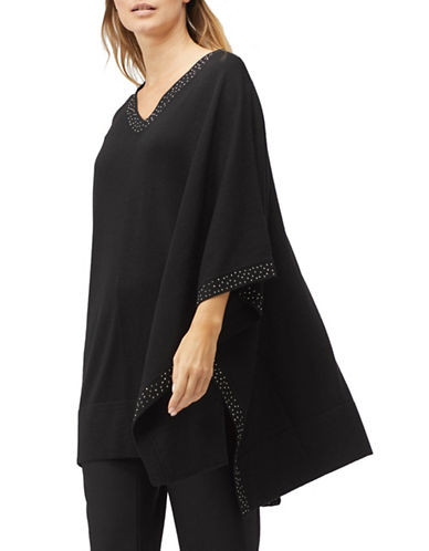 Jacques Vert Wool-Blend Knit Kaftan-BLACK-Medium/Large