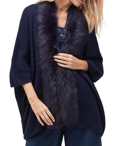 Jacques Vert Renee Merino Wool-Blend Long Cardigan with Faux Fur Trim-NAVY-Small/Medium