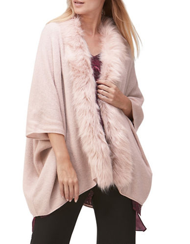 Jacques Vert Renee Faux Fur-Trimmed Cardigan-MID NEUTRAL-Medium/Large