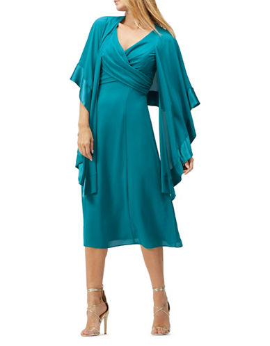 Jacques Vert Shawl Midi Dress-GREEN-UK 8/US 6