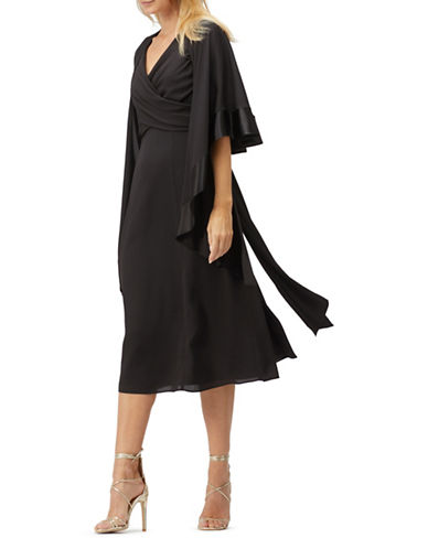 Jacques Vert Shawl Midi Dress-BLACK-UK 14/US 12