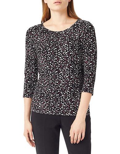 Precis Petite Three-Quarter Sleeve Jersey Top-BLACK-Large 89564858_BLACK_Large