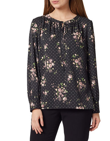 Precis Petite Polk-Dot and Floral Print Blouse-MULTI BLACK-UK 8/US 6
