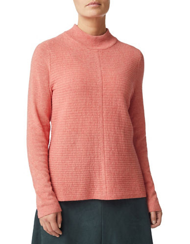 Eastex Stripe Stitch Turtleneck Wool-Blend Sweater-MID PINK-UK 14/US 12