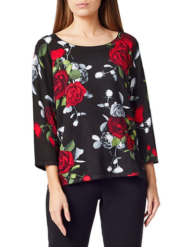 Precis Petite Rose Three-Quarter Top-MULTI BLACK-Medium