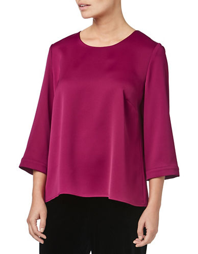 Eastex Three-Quarter Bell Sleeve Satin Blouse-DARK PINK-UK 18/US 16