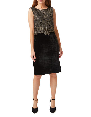 Precis Petite Sleeveless Velvet Dress-BLACK-UK 10/US 8