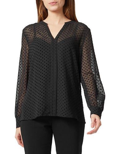 Precis Petite Dotted Button-Front Blouse-BLACK-UK 14/US 12