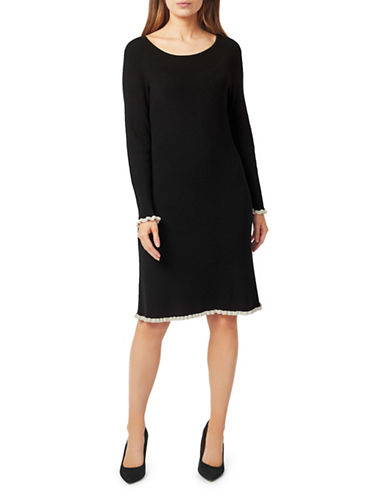 Precis Petite Frill Cuffs Shift Dress-BLACK-Large