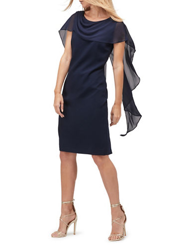 Jacques Vert Drape Cape Dress-NAVY-UK 8/US 6