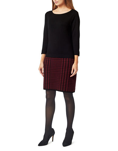 Precis Petite Houndstooth Knit Knee-Length Dress-BLACK/RED-Large