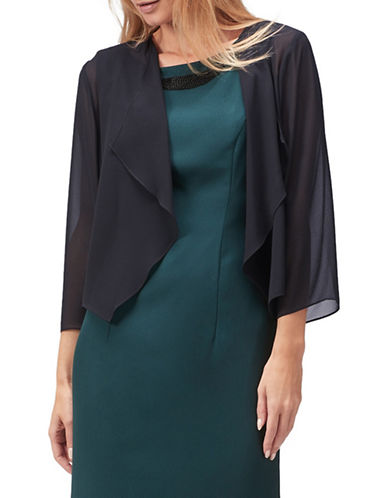 Jacques Vert Chiffon Draped Cover-Up-NAVY-Small