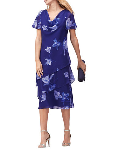 Jacques Vert Florelli Floral Shift Dress-BLUE-UK 24/US 22