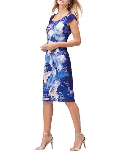 Jacques Vert Magnolia Crepe Shift Dress-BLUE-UK 20/US 18