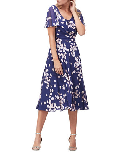 Jacques Vert Petal Drape A-Line Dress-BLUE-UK 20/US 18