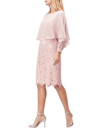 Jacques Vert Lace and Crepe Knee-Length Dress-PINK-UK 14/US 12