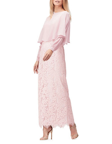 Jacques Vert Lace and Cape Gown-PINK-UK 8/US 6
