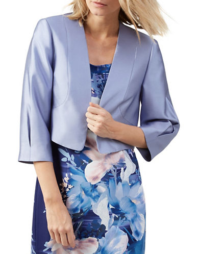 Jacques Vert Seamed Open Front Bolero-BLUE-UK 22/US 20