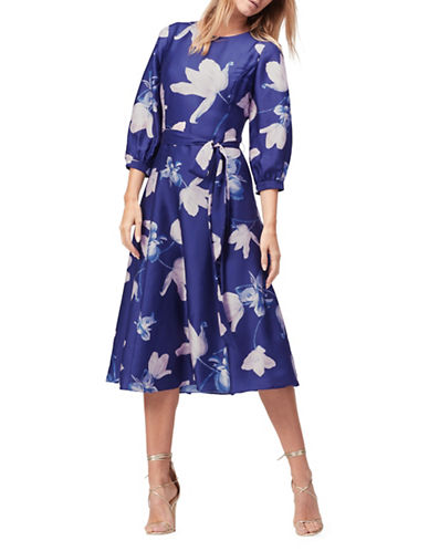 Jacques Vert Printed Three-Quarter Sleeve Party Dress-NAVY-UK 12/US 10