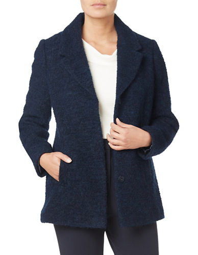 Eastex Short Wool-Blend Boucle Coat-NAVY-UK 10/US 8