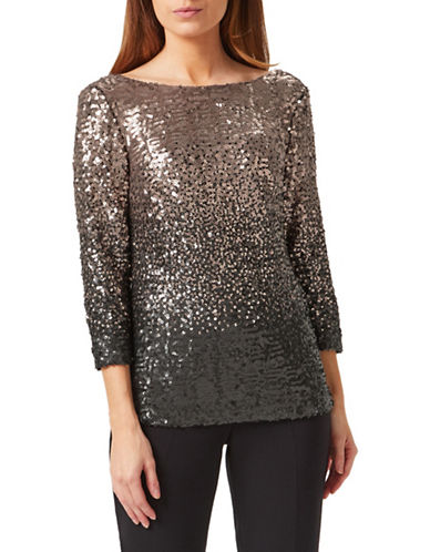Precis Petite Sequin Ombre Top-GOLD-UK 10/US 8