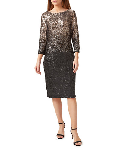 Precis Petite Sequin Ombre Sheath Dress-GOLD-UK 14/US 12
