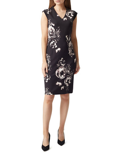 Precis Petite Winter Rose Ponte Dress-MULTI BLACK-UK 16/US 14
