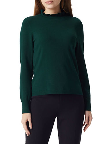 Precis Petite Ruffle Neck Jumper-GREEN-Medium