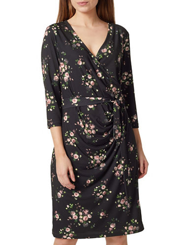 Precis Petite Floral Wrap Dress-BLACK MULTI-UK 14/US 12