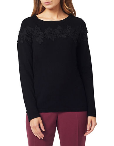 Precis Petite Floral Lace Sweater-BLACK-X-Small