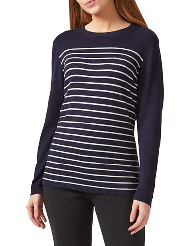 Precis Petite Lurex Striped Jumper-NAVY-Large
