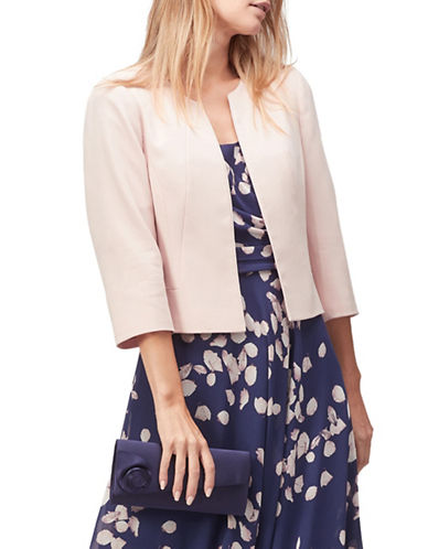 Jacques Vert Crepe Edge to Edge Jacket-PINK-UK 20/US 18