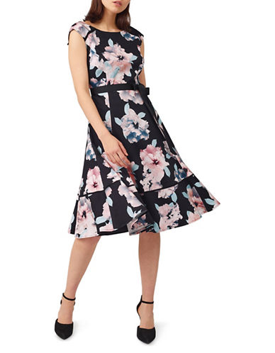 Precis Petite Floral Print Prom Dress-MULTI BLACK-UK 16/US 14