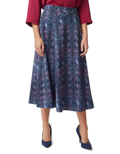 Eastex Nova Spot Flared Midi Skirt-NAVY-UK 16/US 14