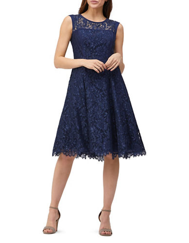 Precis Petite Lace and Satin Fit-and-Flare Prom Dress-NAVY-UK 12/US 10