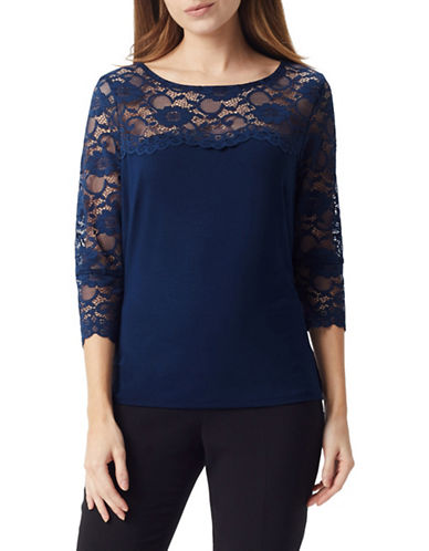 Precis Petite Lace Sleeve Top-NAVY-X-Large