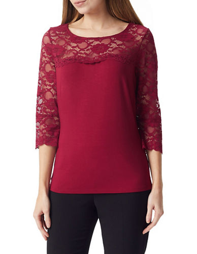 Precis Petite Petite Lace Flute-Sleeve Top-DARK RED-Small