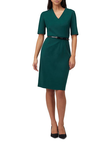 Precis Petite Petite Ponte V-Neck Shift Dress-GREEN-UK 8/US 6