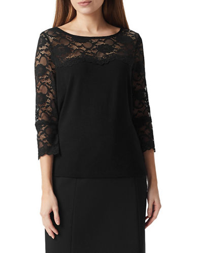 Precis Petite Lace Sleeve Top-BLACK-Small