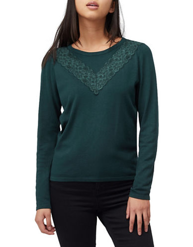 Precis Petite Petite Lace Mix Jumper-GREEN-Small