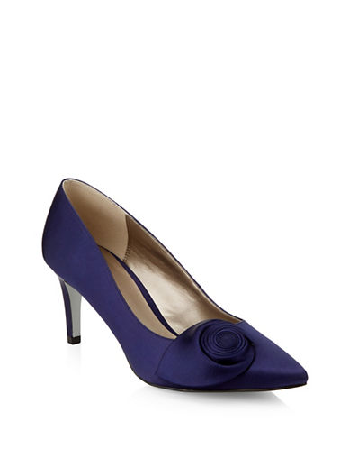 Jacques Vert Swirl Satin Pumps-NAVY-8.5