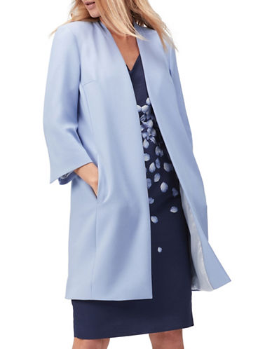 Jacques Vert Long Line Crepe Jacket-BLUE-UK 8/US 6