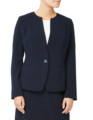 Eastex One-Button Crepe Jacket-NAVY-UK 16/US 14